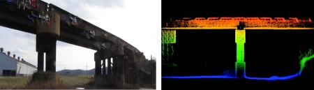 3D model (left) of real world infrastructure (right) created using our aerial robot